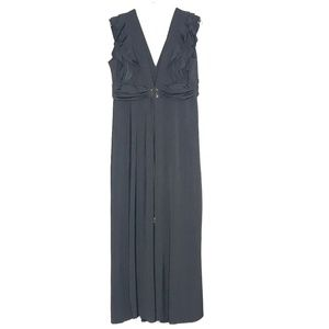 Lacle Selection Black Ruffled Maxi Dress A130736